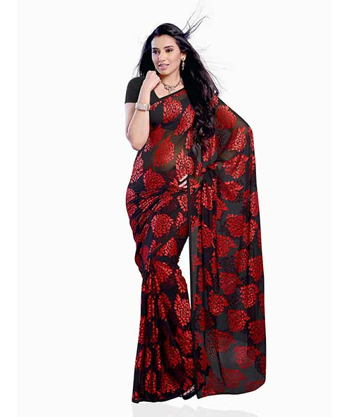 Diva Brasso Party Wear Saree - Black and Red