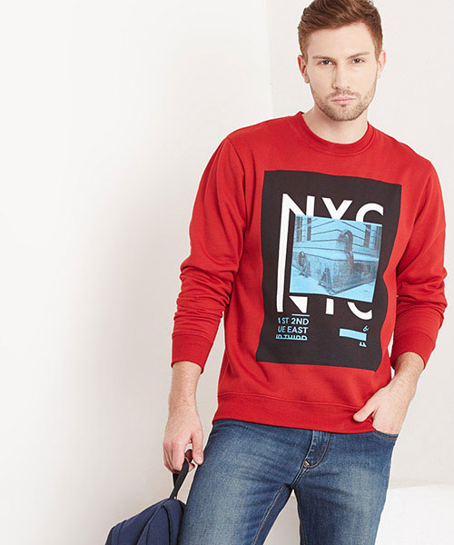 Yepme Bob Printed Sweatshirt - Maroon