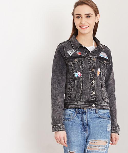 fba7d34ac5c11 Albina Teen Patch Denim Jacket - Black Online Shopping
