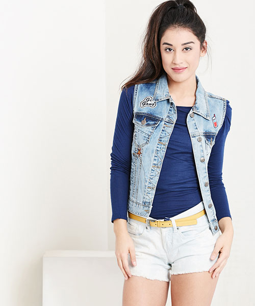 Yepme Isabelle Teen Patch Denim Jacket - Blue