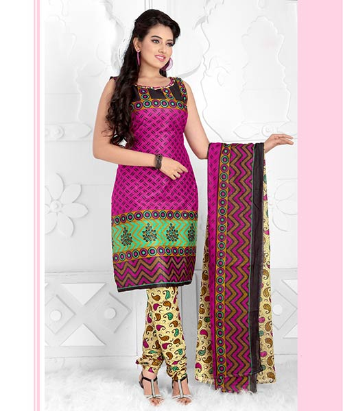 Atisundar Sudeepa Unstitched Salwar Kameez- Pink & Beige