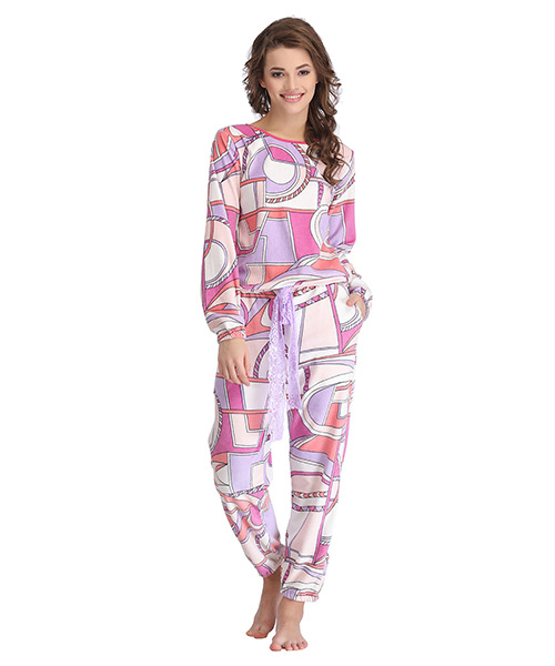 4dad1768dfd Clovia Abstract Print Full Length Top   Pyjama Set - White Online ...