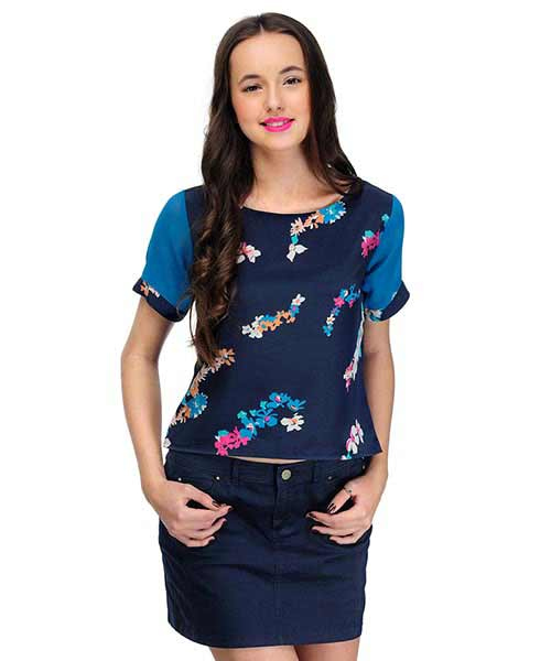 e0430b025293e7 Yepme Alina Printed Crop Top Blue available at Yepme for Rs.299