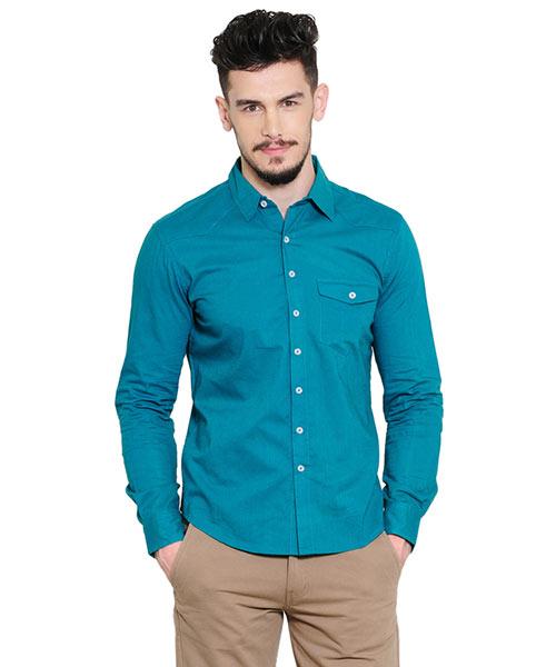 teal blue shirt