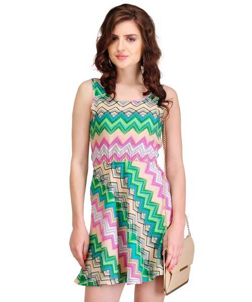 Yepme Adriane Tropical Wave Cutout Dress - Green