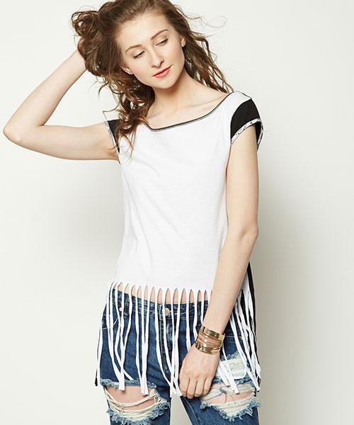 Yepme Lucy Fringe Top - White & Black