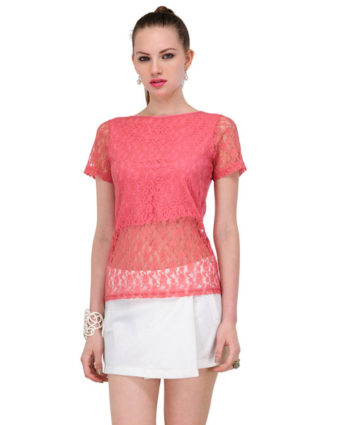 a138fc44142a Yepme Sherlene Lace Top Pink available at Yepme for Rs.499