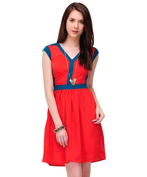 Yepme Dorita Solid Zipper Dress - Red & Blue