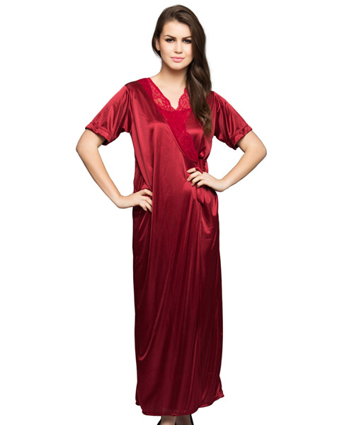 Clovia 6-Pcs Satin Nightwear In Maroon Online Shopping  3054aab55