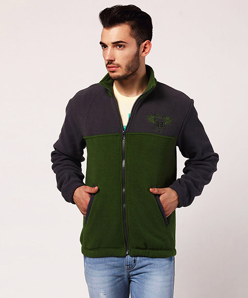 Yepme Jeffy Fleece Jacket - Green & Grey