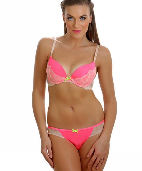 132e20a424171 Clovia Set Of Bra And Panty- Fashion Push Up Plunge Bra And Bikini ...