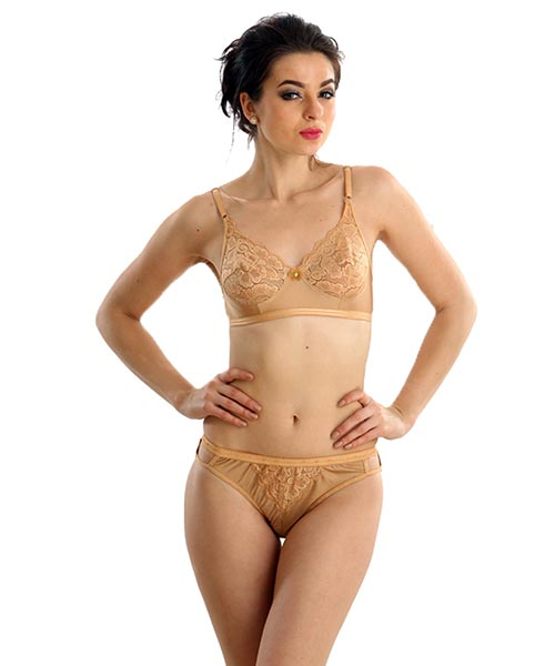 2004c100da8 Clovia Set of Satin Sheen Bra And Panty In Nude Online Shopping