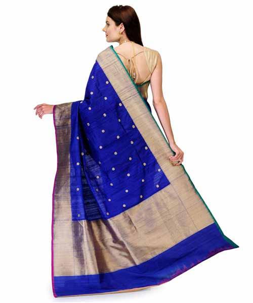 e20c1b03d5c0c Royal Blue Banarasi Handloom Tusser Silk Saree Online Shopping