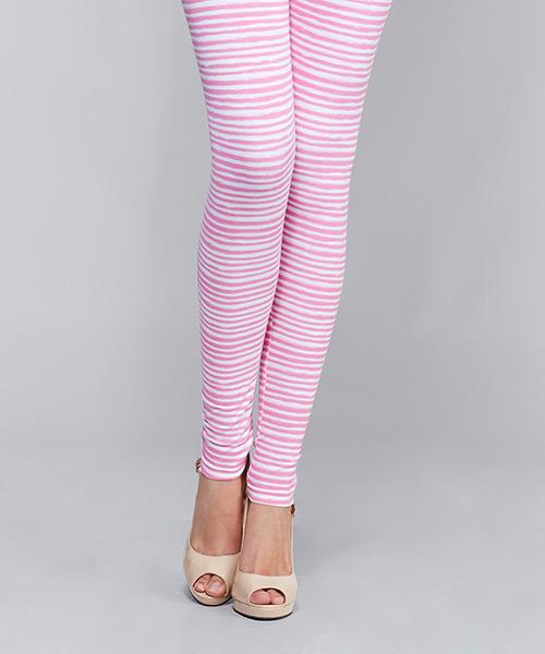 Yepme Alexis Stripes Leggings - Pink & White