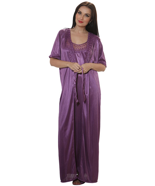 54715ab707 Clovia 2 Pcs Satin Nightwear In Purple - Robe