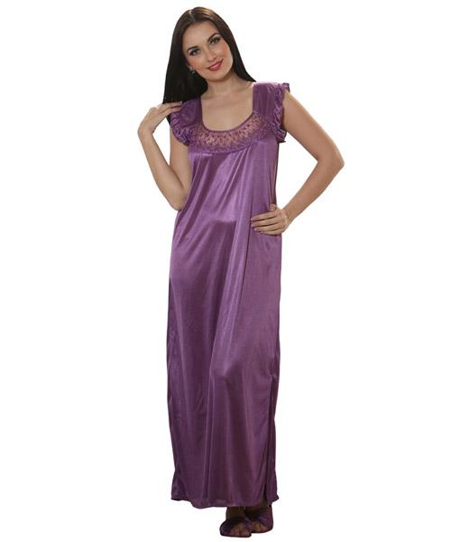 4aecbeaefe Clovia 2 Pcs Satin Nightwear In Purple - Robe