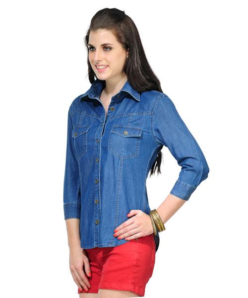 Yepme Light Blue Denim Shirt