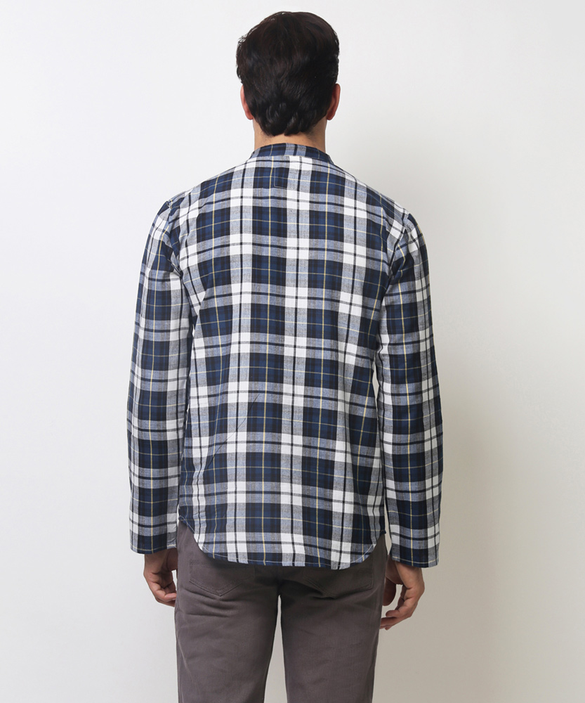 e3a07b6a79a2 Hector Check Kurta Shirt - Grey & Blue Online Shopping | 88107