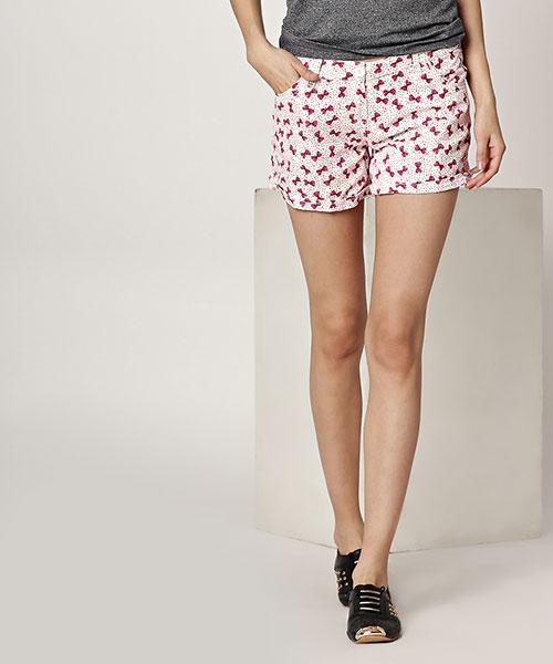 Yepme Karie Printed Shorts - White & Pink