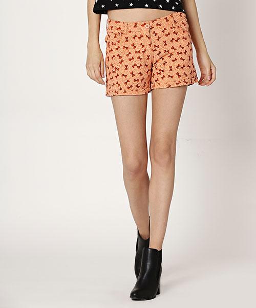 Yepme Karie Printed Shorts - Orange