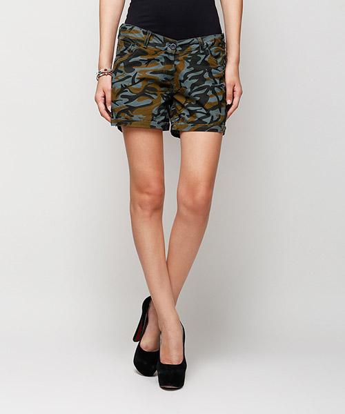 Yepme Karie Printed Shorts - Green