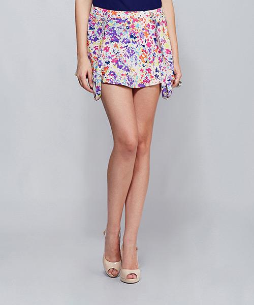 Yepme Georgia Suspender Skirt - Purple & Pink