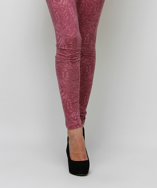 Yepme Olivia Printed Leggings - Maroon