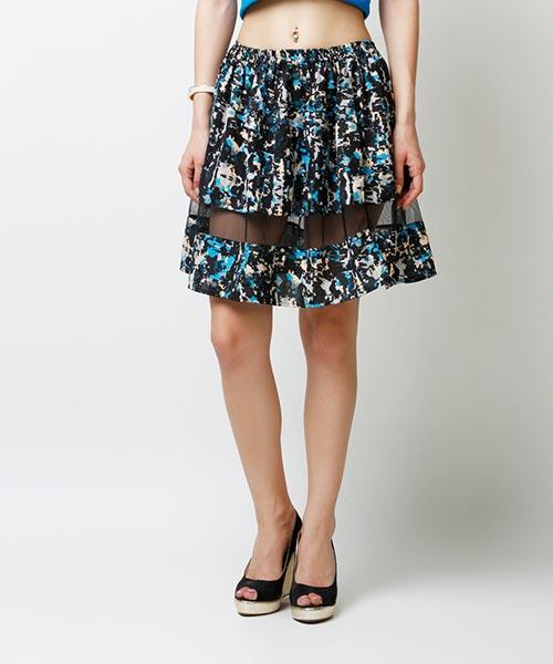 Yepme Arianny Sheer Midi Skirt - Black & Blue