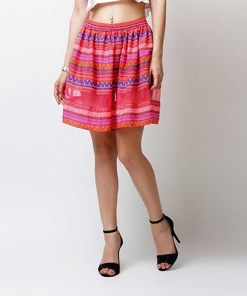 Yepme Arianny Sheer Midi Skirt - Pink & Orange