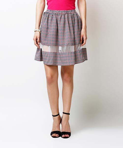 Yepme Arianny Sheer Midi Skirt - Black & Red