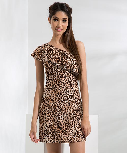 Yepme Scarlett One Shoulder Dress - Brown