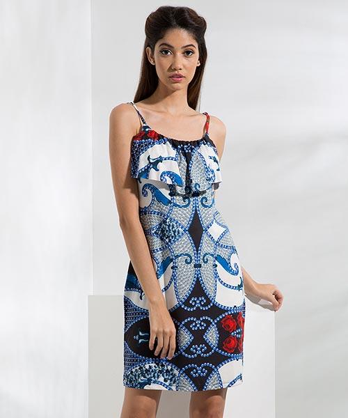 Yepme Tracy Flare Dress - Blue & Black