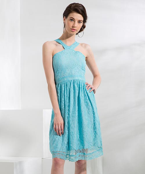 Yepme Kylie Slim Fit Lace Dress - Blue