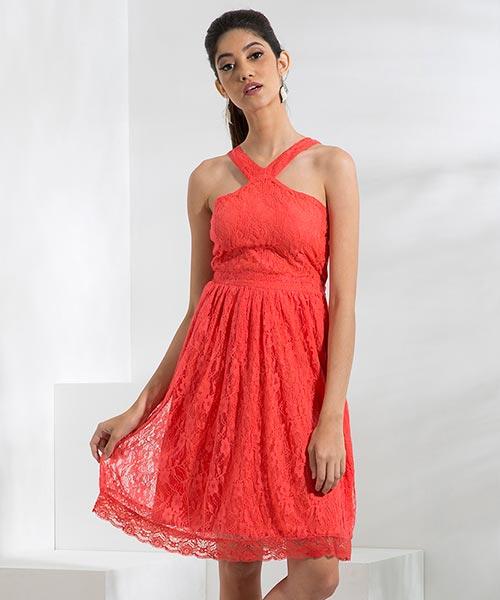 Yepme Kylie Slim Fit Lace Dress - Coral