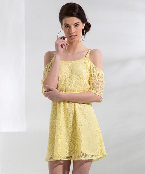 Yepme Fiona Lace Dress - Yellow