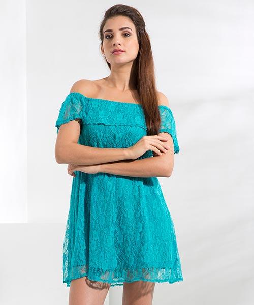 Yepme June Off-Shoulder Dress - Blue