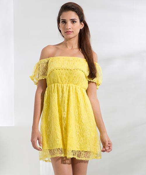 Yepme June Off-Shoulder Dress - Yellow