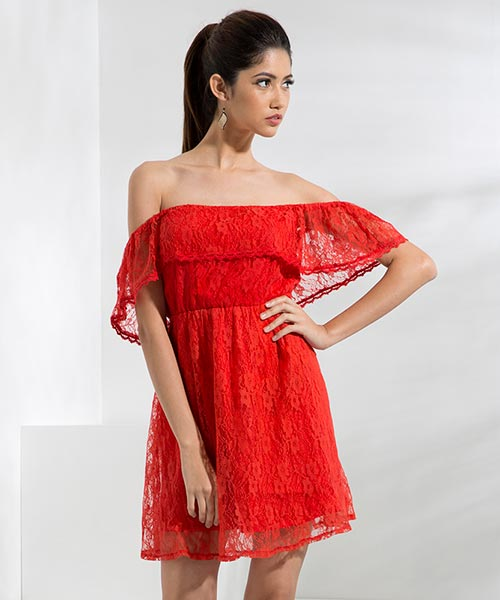 Yepme June Off-Shoulder Dress - Red