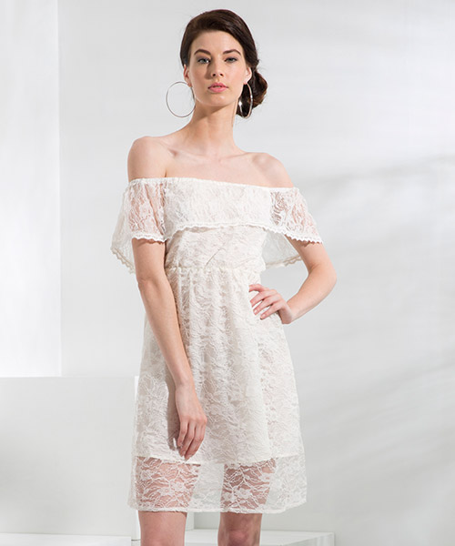Yepme June Off-Shoulder Dress - Peach