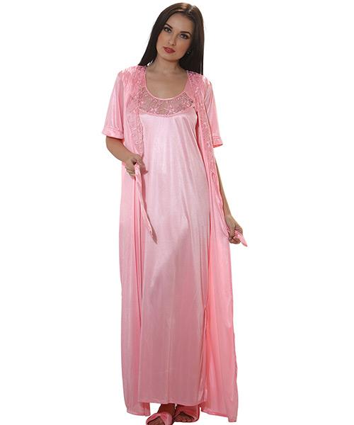 7e3ffb00fb Clovia 4 Pcs Satin Nightwear In Baby Pink - Robe