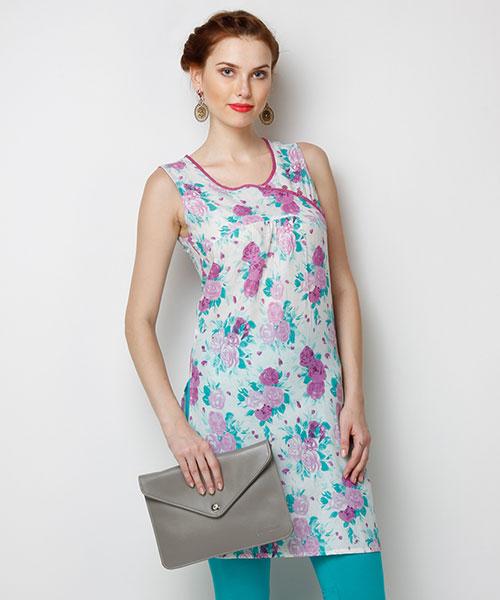 Yepme Roxanne Floral Print Kurti - Purple & Ecru