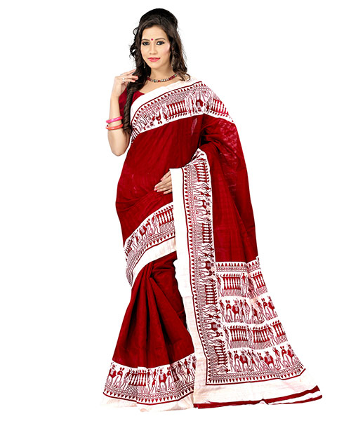 Lookslady Printed Maroon & Beige Bhagalpuri Silk Saree