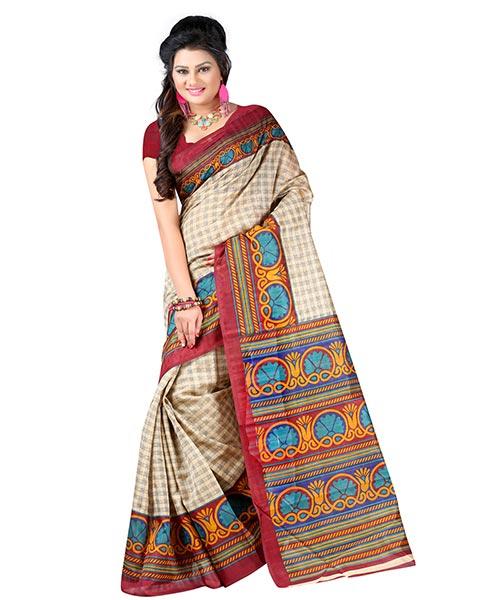 Lookslady Printed Beige & Maroon Bhagalpuri Silk Saree