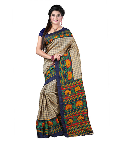 Lookslady Printed Beige & Dark Blue Bhagalpuri Silk Saree