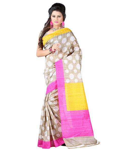 Lookslady Printed Beige & White Bhagalpuri Silk Saree