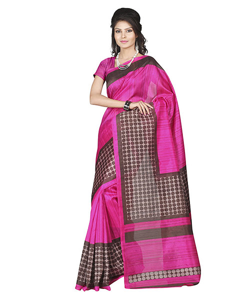 Lookslady Printed Pink & Brown Bhagalpuri Silk Saree
