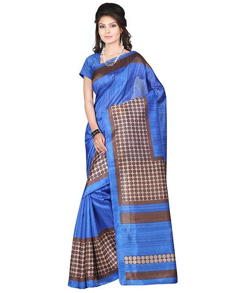Lookslady Printed Blue & Brown Bhagalpuri Silk Saree