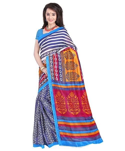 Lookslady Printed Dark Blue & Orange Bhagalpuri Silk Saree