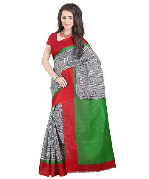 Lookslady Printed White & Green Bhagalpuri Silk Saree