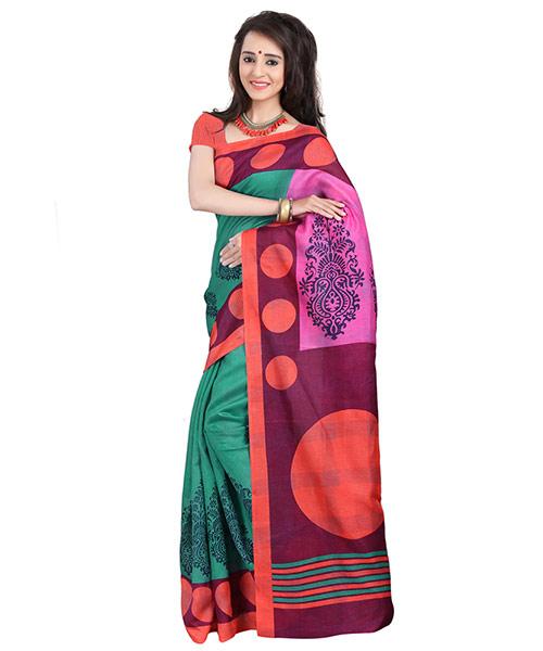 Lookslady Printed Turquoise & Pink Bhagalpuri Silk Saree